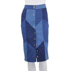 Gracia Patched Denim Jean High Waist Pencil Skirt